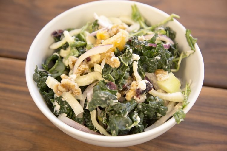 Festive Holiday Kale Salad Recipe (with Cranberry Dressing)