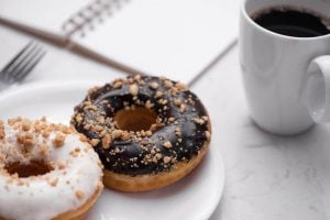 donuts and coffee empty calories concept